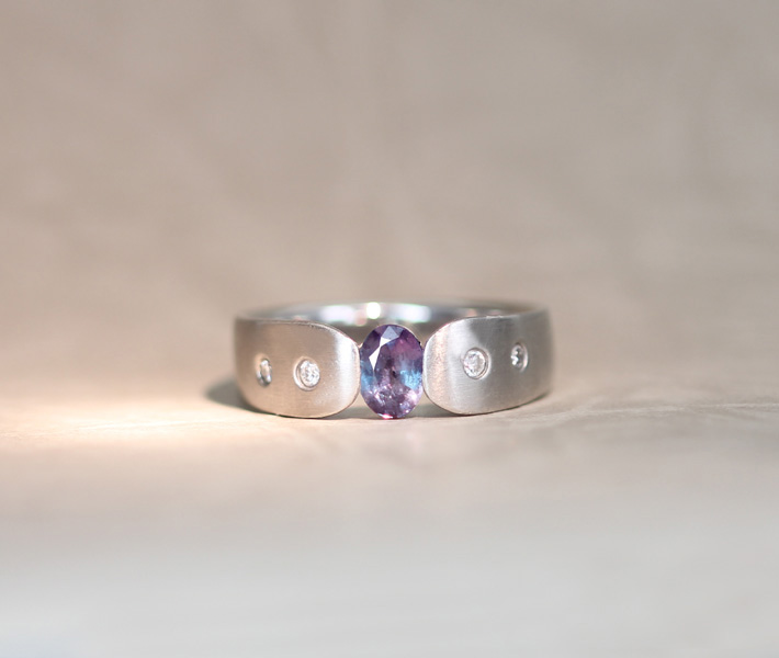 PT900 アレキサンドライト 0.41ct リング ダイヤモンド0.07ct