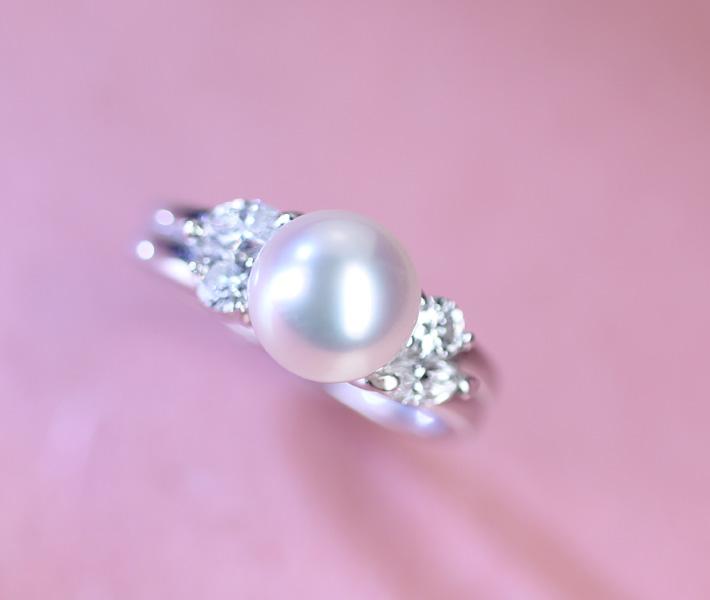 PT900 パールリング ダイヤモンド 0.46ct