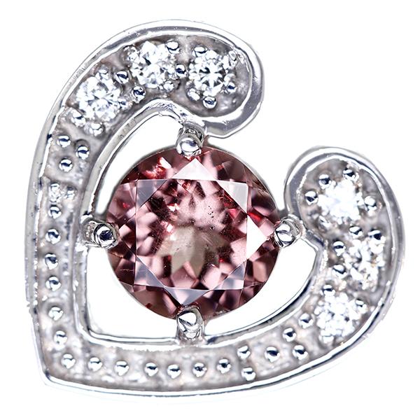【販売代行】K18WG カラーチェンジガーネット 0.99ct ペンダントトップ ダイヤモンド 0.09ct ハートモチーフ