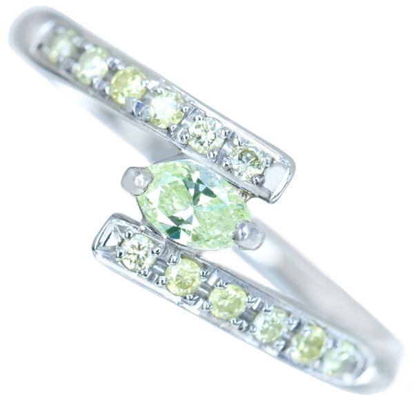【販売代行】P900 ライトイエローグリーンダイヤモンド 0.147ct リング イエロー/グリーンダイヤモンド 0.142ct※GGSソーティング付