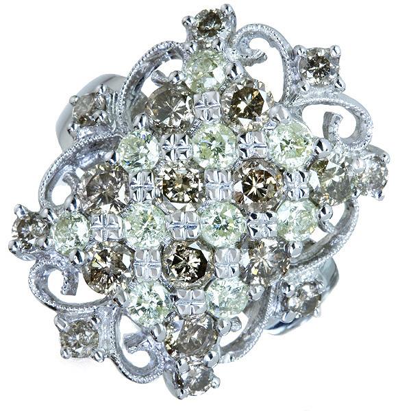 【販売代行】K18WG イエロー/ブラウンダイヤモンド 3.20ct リング