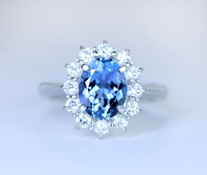 PT900 サンタマリアアクアマリンリング 1.48ct Total0.5ct ダイヤモンド
