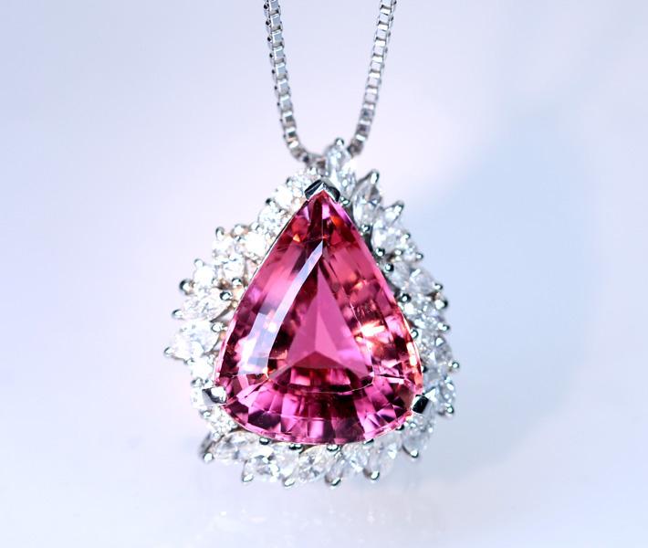【大粒!!12ctUP】Pt900/850 ピンクトルマリン 12.4ct ダイヤモンド Total1.52ct ネックレス