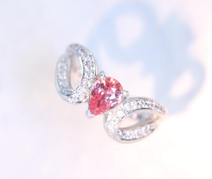 PT900 パパラチャサファイア リング 0.766ct ダイヤモンド 0.2ct