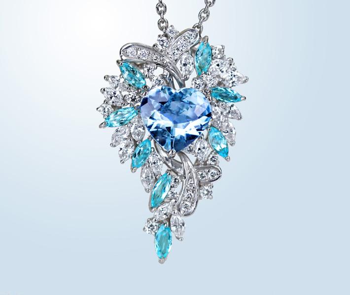 Pt900 アクアマリン 1.011ct パライバトルマリン2.04ct ダイヤモンド 1.33ct ネックレス