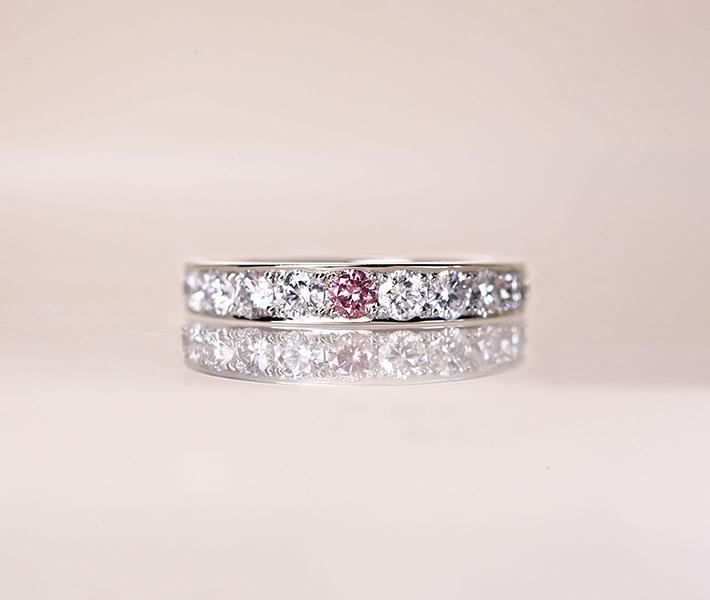 【HANDMADE】PT950 ピンクダイヤモンド 0.082ct Fancy Intense Purplish Pink VS2 リング ダイヤモンド 0.902ct