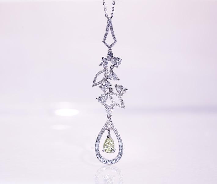 PT950/PT850 イエローダイヤモンド 0.501ct VERY LIGHT YELLOW VS2 ネックレス ダイヤモンド トータル1.55ct