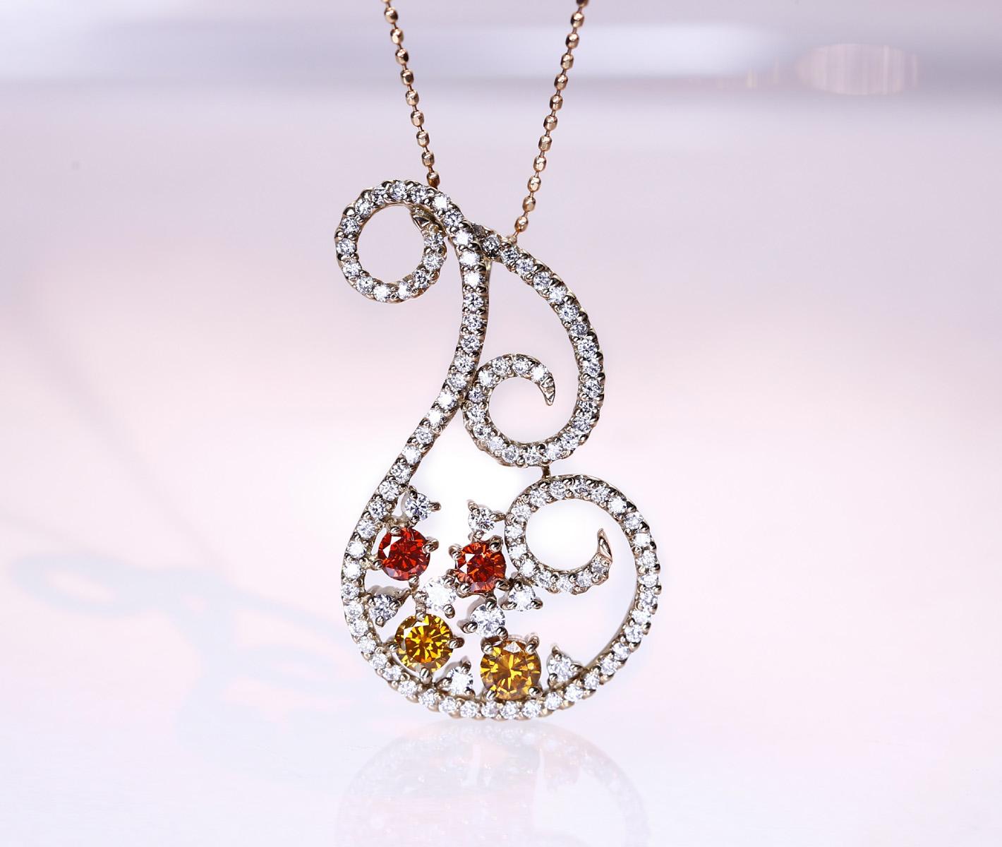 K18PG トリートブラウンダイヤモンド/トリートオレンジダイヤモンド 0.559ct ダイヤモンド 0.77ct ネックレス