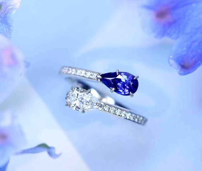 【HANDMADE】PT950 非加熱サファイア 0.92ct / ダイヤモンド 0.52ct D IF TYPE2 リング ダイヤモンド 0.141ct コーンフラワーブルー toi et moi トワエモア