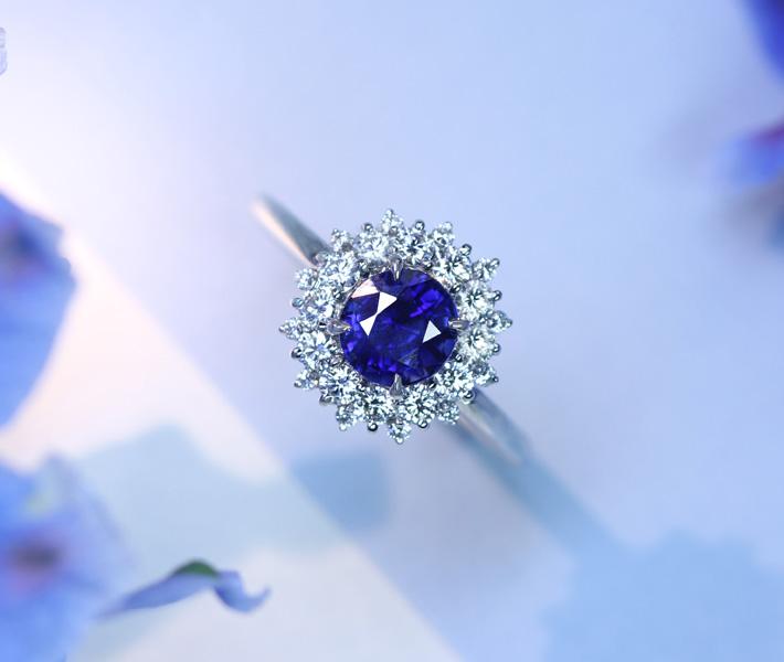 【HANDMADE】PT950 ビルマ産非加熱ロイヤルブルーサファイア 1.32ct リング ダイヤモンド 0.49ct ※GRS鑑別書付 ノーヒートサファイア vivid blue