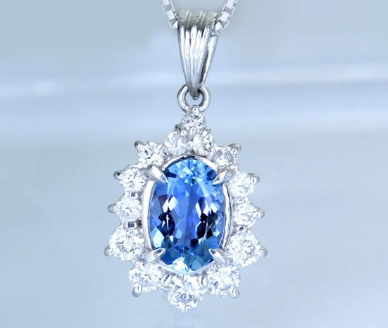 Pt900 サンタマリアアクアマリン 1.35ct ダイヤモンド 0.78ct ペンダントトップ