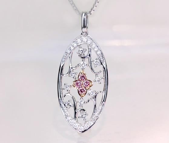 【特価!!一点限り】 K18WG/PG ピンクダイヤモンド 0.27ct  ダイヤモンド 0.07ct ペンダントトップ