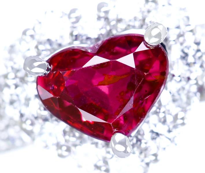 ジュエリー通販ジュエルプラネット ハートシェイプ ルビーリング PT900 0.99ct ダイヤモンド 0.64ct【送料無料】