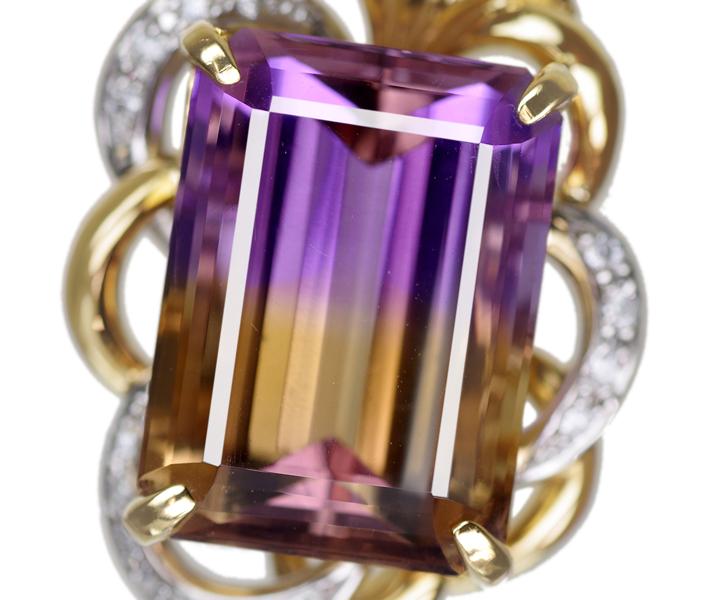 ジュエリー通販ジュエルプラネット 【HANDMADE】アメトリン 41.005ct リング ダイヤモンド 1.351ct PT950