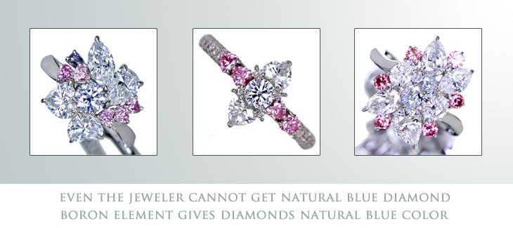 ジュエルプラネット謹製 天然ブルーダイヤモンドのハンドメイドジュエリー ブルーダイヤモンド