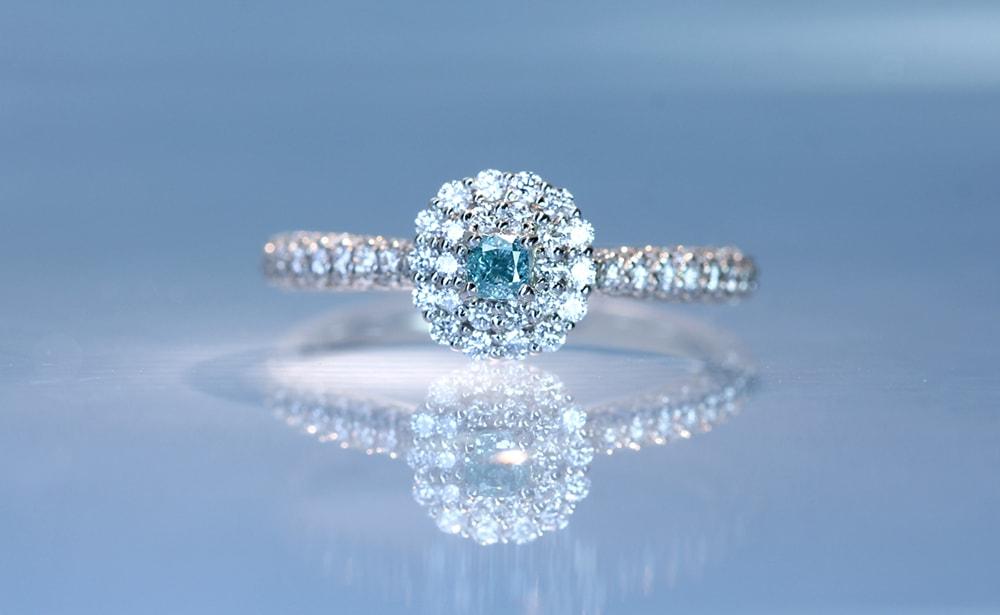 fancy vivid green blueのブルーダイヤモンドリング  ジュエルプラネット オリジナル ブルーダイヤモンド