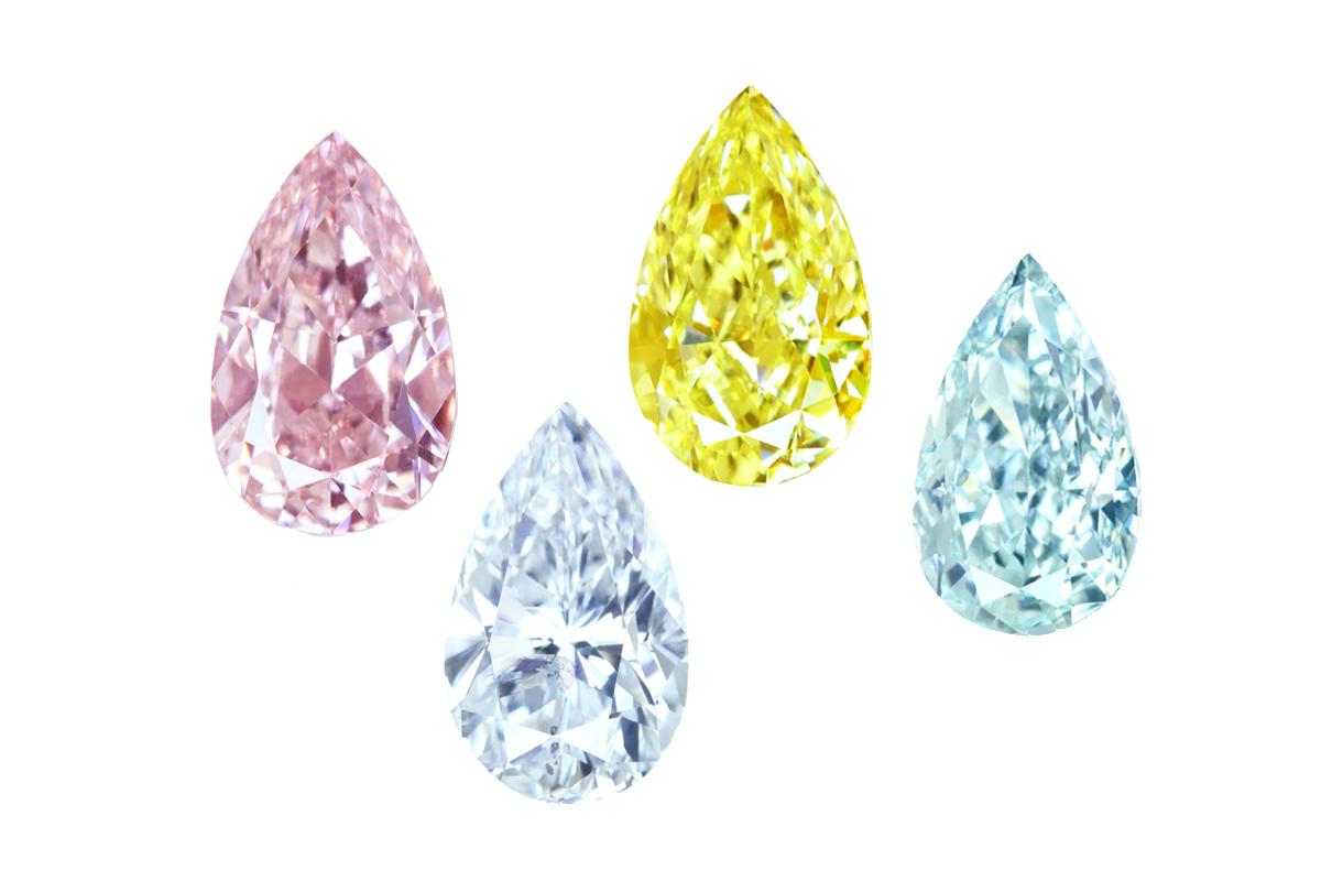 ペアシェイプ カラーダイヤモンド ピンクダイヤモンド グリーンダイヤモンド